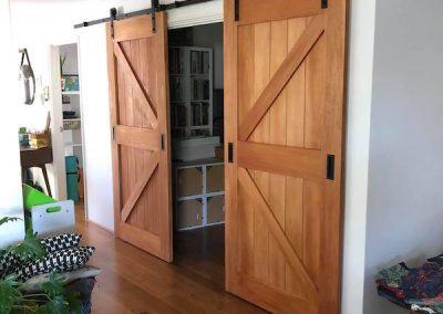 After image of barn door installation Eden hill